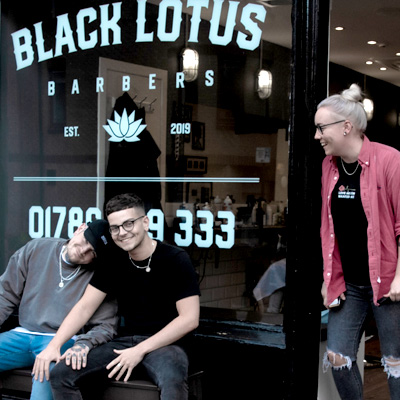 Black Lotus Barbers - the outside of our barber shop at 38 Upper Craigs, Stirling